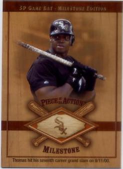 2001 SP Game Bat Milestone Piece of Action Milestone #FT Frank Thomas *