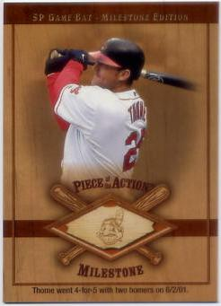 2001 SP Game Bat Milestone Piece of Action Milestone #JT Jim Thome