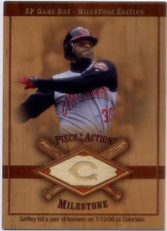 2001 SP Game Bat Milestone Piece of Action Milestone #KG Ken Griffey Jr.