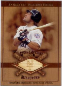 2001 SP Game Bat Milestone Piece of Action Milestone #MP Mike Piazza