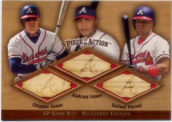 2001 SP Game Bat Milestone Piece of Action Trios #JJF Chipper Jones/Andruw Jones/Rafael Furcal