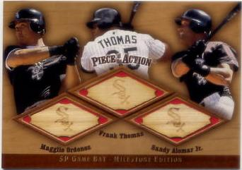 2001 SP Game Bat Milestone Piece of Action Trios #OTA Rey Ordonez/Frank Thomas/Sandy Alomar Jr.