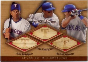 2001 SP Game Bat Milestone Piece of Action Trios #RRP Alex Rodriguez/Ivan Rodriguez/Rafael Palmeiro