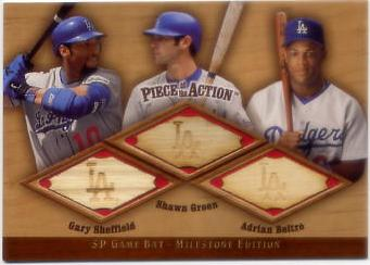 2001 SP Game Bat Milestone Piece of Action Trios #SGB Gary Sheffield/Shawn Green/Adrian Beltre