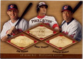 2001 SP Game Bat Milestone Piece of Action Trios #TVA Jim Thome/Omar Vizquel/Roberto Alomar