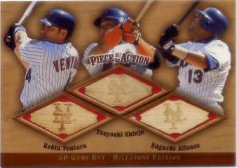 2001 SP Game Bat Milestone Piece of Action Trios #VSA Robin Ventura/Tsuyoshi Shinjo/Edgardo Alfonzo