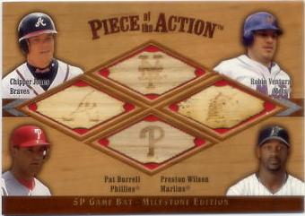 2001 SP Game Bat Milestone Piece of Action Quads #JVBW Chipper Jones/Robin Ventura/Pat Burrell/Preston Wilson