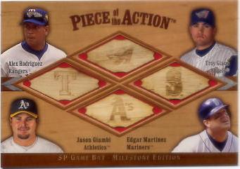 2001 SP Game Bat Milestone Piece of Action Quads #RGGM Alex Rodriguez/Troy Glaus/Jason Giambi/Edgar Martinez