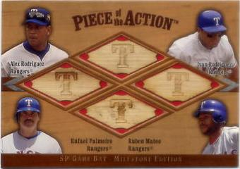 2001 SP Game Bat Milestone Piece of Action Quads #RRPM Alex Rodriguez/Ivan Rodriguez/Rafael Palmeiro/Ruben Mateo