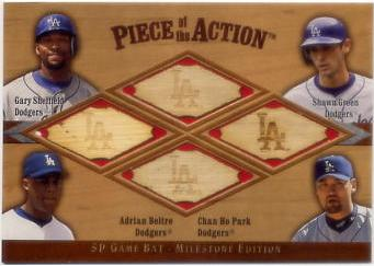2001 SP Game Bat Milestone Piece of Action Quads #SGBP Gary Sheffield/Shawn Green/Adrian Beltre/Chan Ho Park