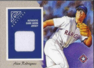 2002 Topps Gallery Heritage Uniform Relics #GHRAR Alex Rodriguez 98 A
