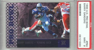 1996 Upper Deck Football #PB4 Barry Sanders Pro Bowl PSA Mint 9 Detroit LIONS BEAUTIFUL!!