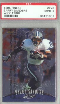 1998 Topps Finest Football #270 Barry Sanders w/coating PSA Mint 9 Detroit LIONS NICE!