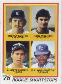 1978 Topps #707 Rookie Shortstops/Mickey Klutts/Paul Molitor RC/Alan Trammell RC/U.L. Washington RC