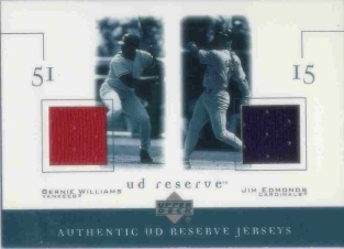 2001 UD Reserve Game Jersey Duos #JWE Bernie Williams/Jim Edmonds