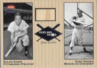 2002 Greats of the Game Dueling Duos Game Used Single #RK1 Ralph Kiner Bat/Duke Snider