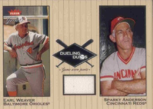 2002 Greats of the Game Dueling Duos Game Used Single #SA1 Sparky Anderson Pants SP/400/Earl Weaver
