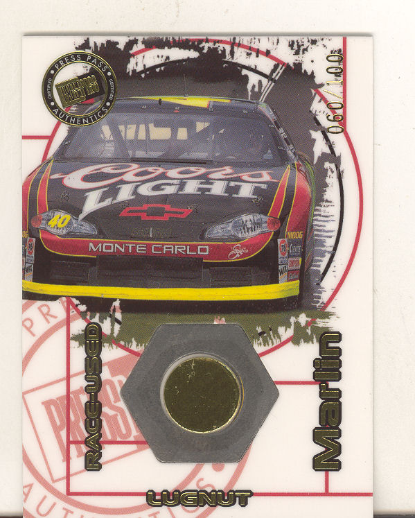 2000 Press Pass Optima Race Used Lugnuts Cars #LC8 Sterling Marlin's Car
