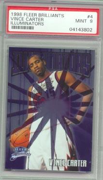 1998/99 Fleer Brilliants Basketball #4 VINCE CARTER  Illuminators PSA MINT 9 AWESOME!!