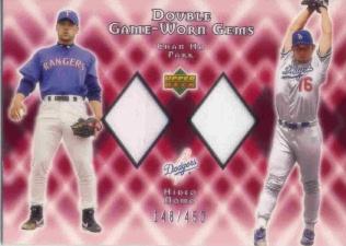 2002 Upper Deck Double Game Worn Gems #DGPN Chan Ho Park/Hideo Nomo