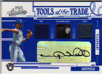 2005 Absolute Memorabilia Tools of the Trade Autograph Swatch Triple Reverse #120 G.Sheffield FG-H-S/25