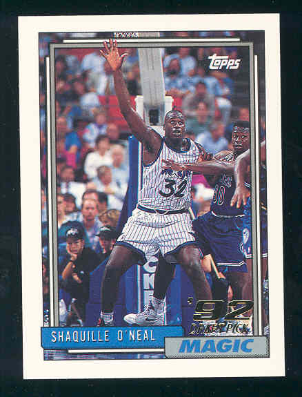 1992 93 Topps 362 Shaquille Oneal Rc Heat 92 Draft Pick