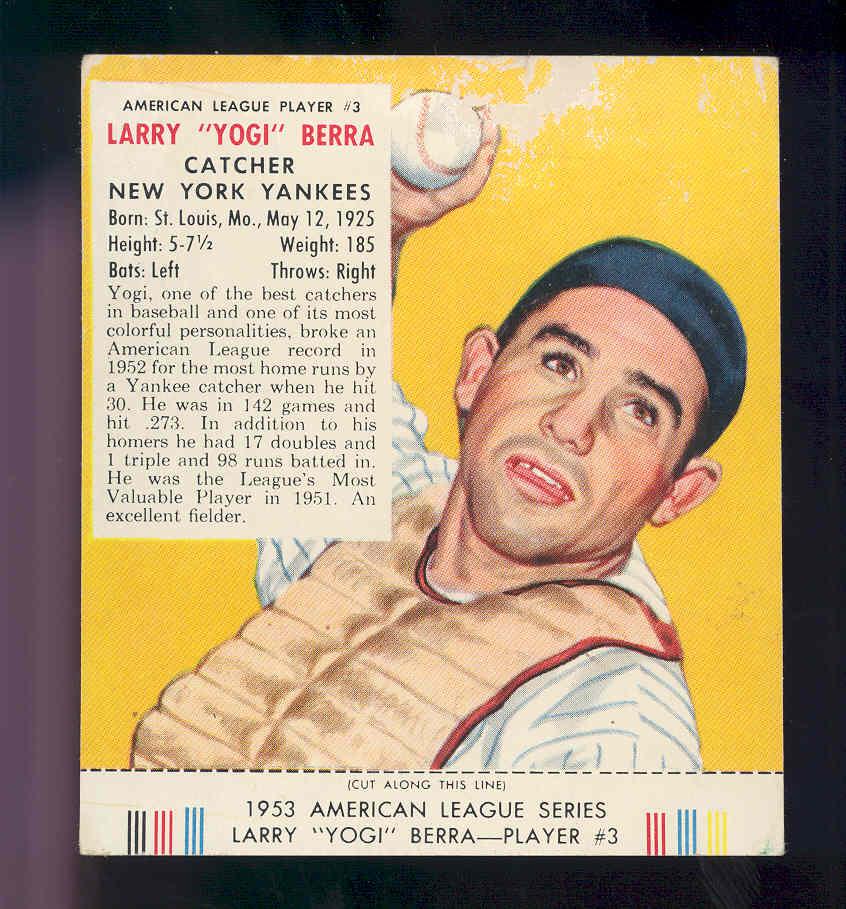 1953 Red Man #AL3 Yogi Berra