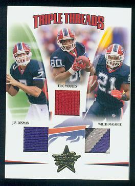 2005 Leaf Rookies and Stars Triple Threads Prime #TT1 J.P. Losman/Eric Moulds/Willis McGahee