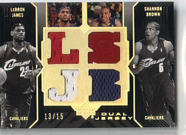 2006-07 UD Black Jerseys Dual 15 #JB LeBron James/Shannon Brown
