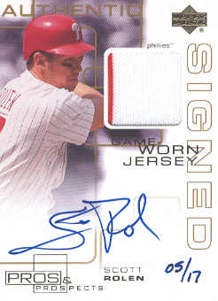 2000 Upper Deck Pros and Prospects Game Jersey Autograph Gold #SR Scott Rolen/17