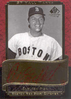 2003 SP Legendary Cuts Hall Marks Autographs #CF3 Carlton Fisk Red/5