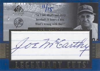 2003 SP Legendary Cuts Autographs Blue #JO Joe McCarthy/15