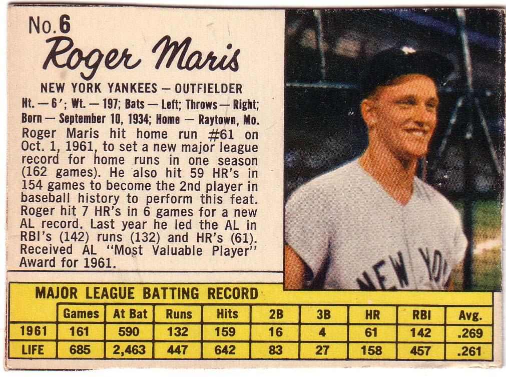 1962 Jello #6 Roger Maris