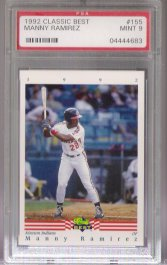 1992 Classic Best #155 Manny Ramirez Minor League PSA Mint 9 ROOKIE Kinston INDIANS!!