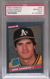 1986 Donruss #39 Jose Canseco PSA Mint 8 o/c ROOKIE NICE!!