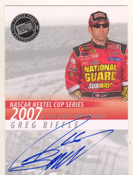 2007 Press Pass Autographs #1 Greg Biffle NC P
