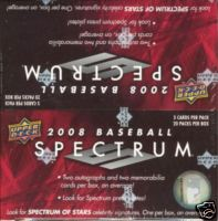 2008 Upper Deck UD Spectrum Baseball Factory Sealed Hobby Series Box - 2 Autographed ( Possible Derek Jeter ) Cards & 2 Memorabilia Cards Per Box On Avg. - Possible HOT Boxes With 11 Hits - In Stock