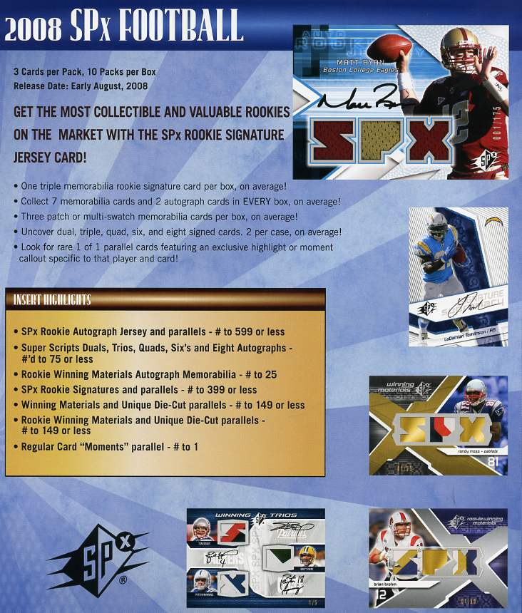 2008 Upper Deck SPX Football Factory Sealed Hobby Box (Rookies Include Ryan, Johnson, Flacco, Rice, Charles & more) (Incls a pk of 100 card sleeves)