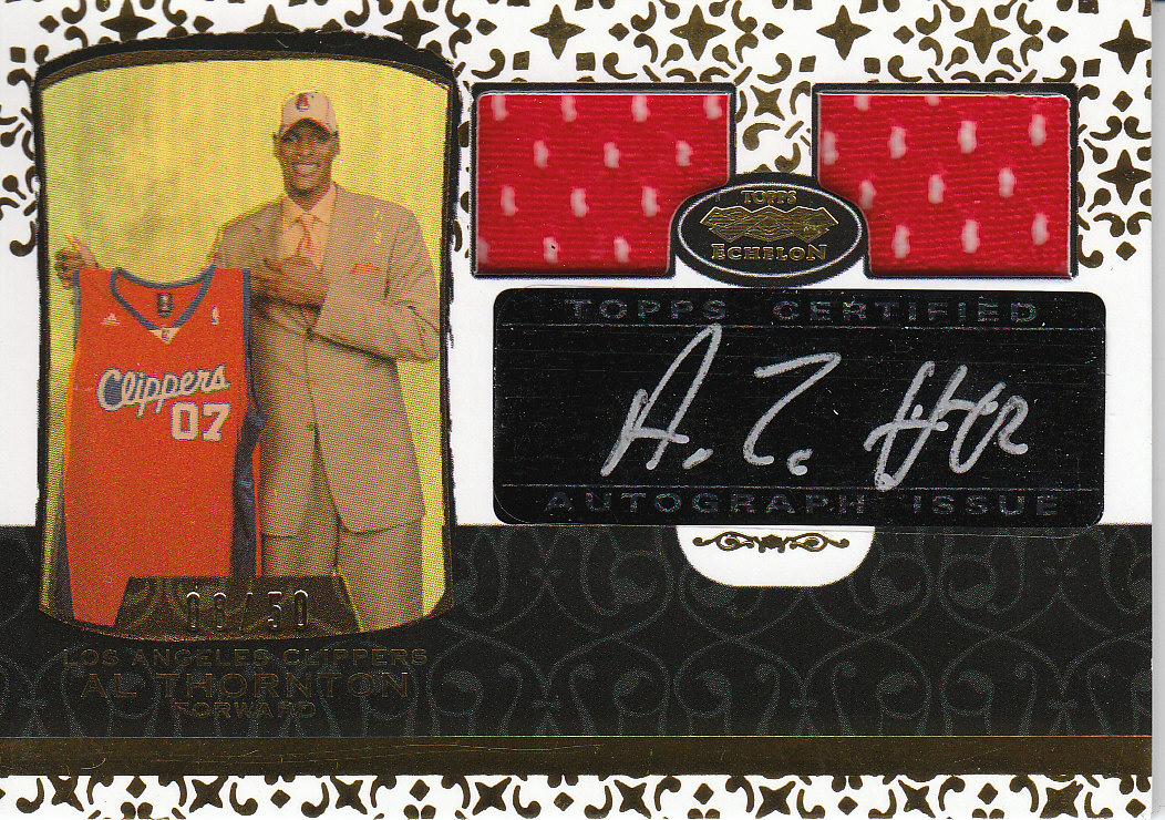 2007-08 Topps Echelon Rookie Autographs Dual Relics Gold #58 Al Thornton