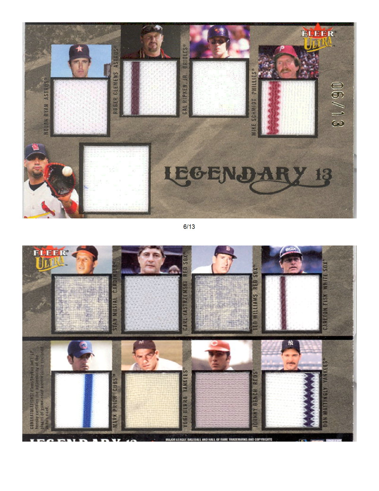 2004 Ultra Legendary 13 Collection Game Used #AP A.Pujols Oversized Jsy