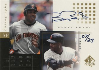 2000 SP Authentic Chirography Gold #GBB Barry Bonds/25