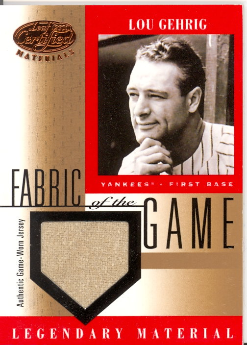 2001 Leaf Certified Materials Fabric of the Game #1BA Lou Gehrig SP