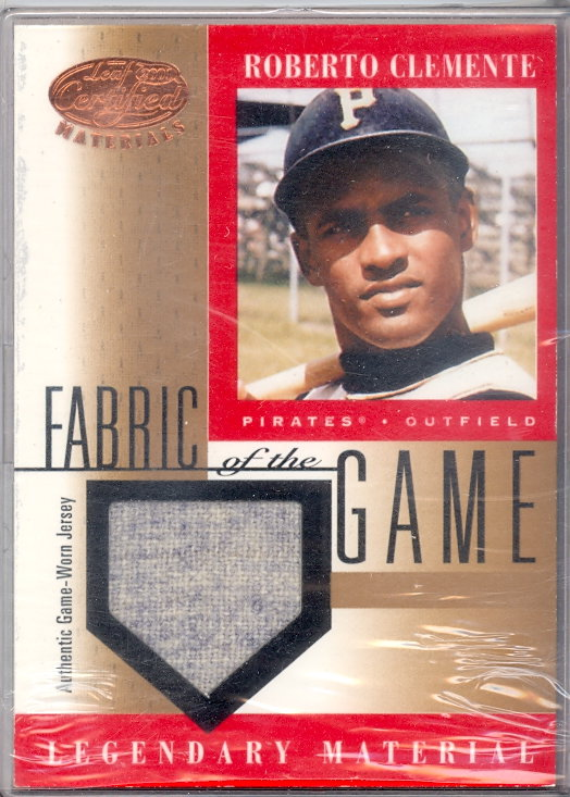 2001 Leaf Certified Materials Fabric of the Game #5BA Roberto Clemente SP