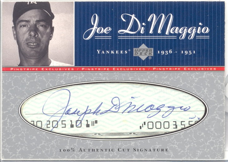 2001 Upper Deck Pinstripe Exclusives DiMaggio Memorabilia #C3 J.DiMaggio Cut/5