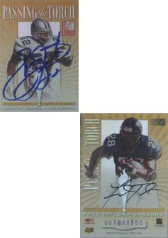 1999 Donruss Elite Passing the Torch Autographs #4B Emmitt Smith/Fred Taylor