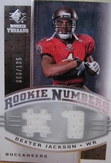 2008 SP Rookie Threads Rookie Numbers Silver 135 #RNDX Dexter Jackson