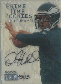 1999 SkyBox Premium Prime Time Rookies Autographs #10PR Donovan McNabb