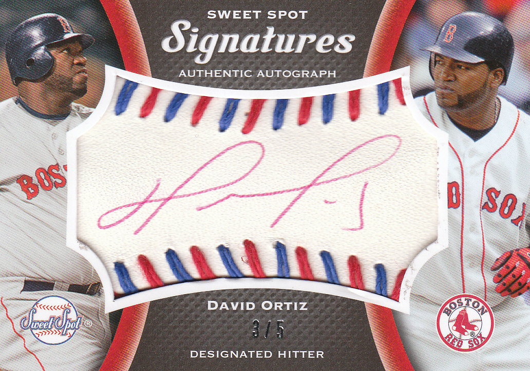 2008 Sweet Spot Signatures Red-Blue Stitch Red Ink #SDO David Ortiz/5