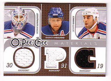 2008-09 O-Pee-Chee Materials Triple #3MGNL Henrik Lundqvist/Markus Naslund/Scott Gomez