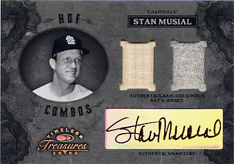 2003 Timeless Treasures HOF Combos Autographs #12 Stan Musial Bat-Jsy/25